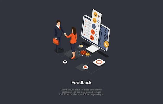 文字とテキストによる構成。等尺性ベクトルイラスト、漫画の3dスタイル。顧客フィードバックの概念。握手する2人のビジネスマン、デスクトップコンピューター、情報と画面上の評価