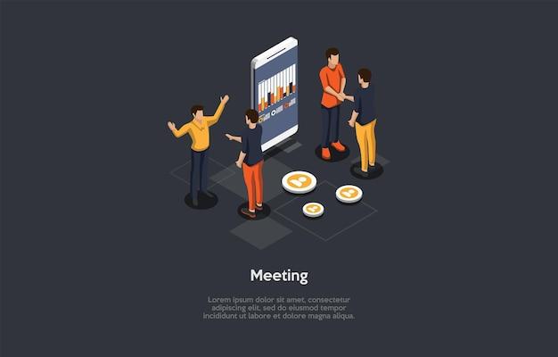 문자 및 텍스트 구성. 아이소메트릭 벡터 일러스트 레이 션, 만화 3d 스타일입니다. 회의 개념입니다. 함께 서 있는 사람들의 그룹, 화면에 그래프가 있는 큰 스마트 폰. 비즈니스 토론