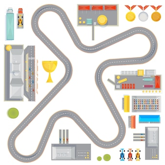 Composition with curvy racing track garages service stations and race car images cup and medals icon