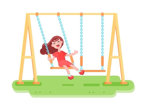 Composizione con immagini piatte di altalena parco giochi