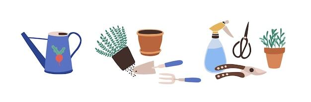 흰색 배경에 고립 된 원 예 도구와 구성입니다. 농업 작업, 식물 재배 또는 이식, 정원 작업을 위한 장비 번들. 플랫 만화 벡터 일러스트 레이 션.