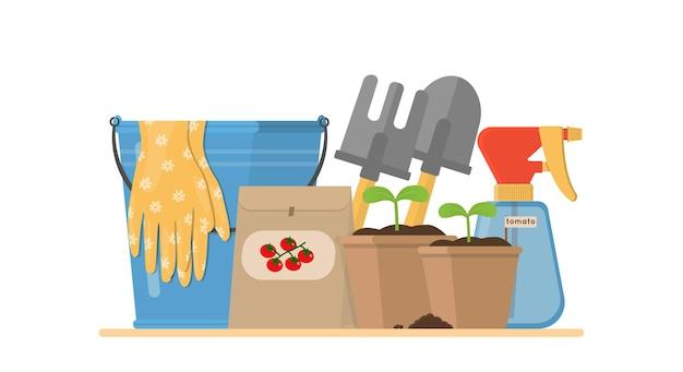 Композиция с садовыми инструментами, изолированные на белом фоне. комплект оборудования для сельскохозяйственных работ, выращивания или пересадки растений, работы в саду. векторная иллюстрация.