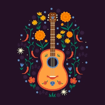 Composition with mexican guitar and floral elements.