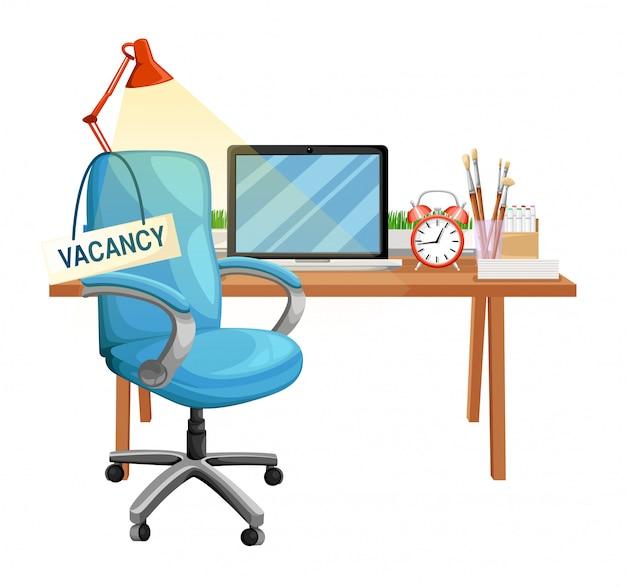 Композиция с офисным стулом и знаком вакантно. бизнес-концепция найма и найма. иллюстрации. страница веб-сайта и элемент мобильного приложения.