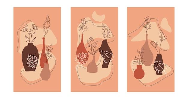 Композиция с листьями растений и цветов и абстрактными вазами