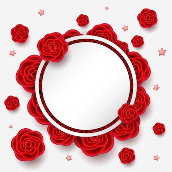 Composition with realistic flowers. red roses and stars with white round frame with place for your text.