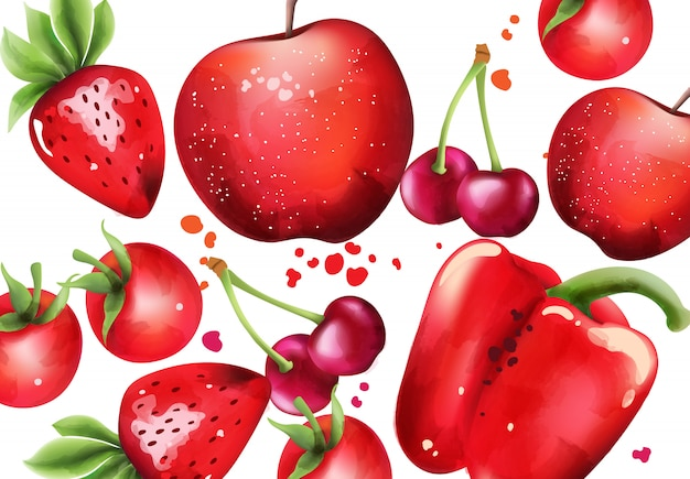 Composition with red fruits and vegetables