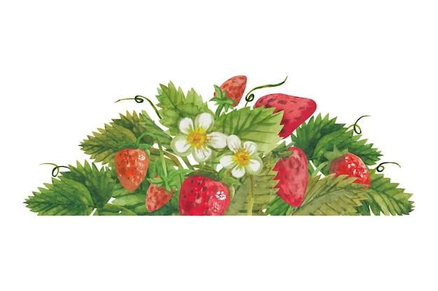 Композиция с клубникой и цветами
