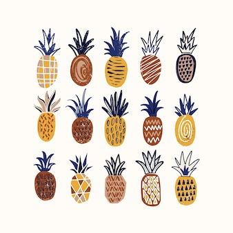Composition with stylized pineapples of various texture