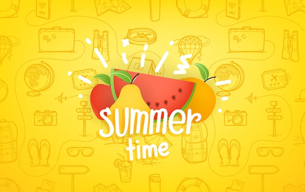 Composition with summer fruits and lettering logo
