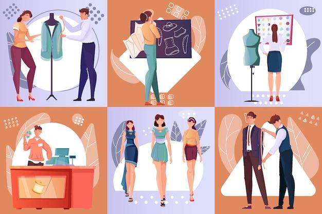 Composizioni con maestri professionisti del taglio e della cucitura di abiti di moda
