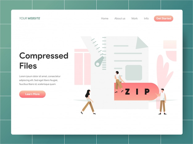 Compressed file  banner of landing page concept