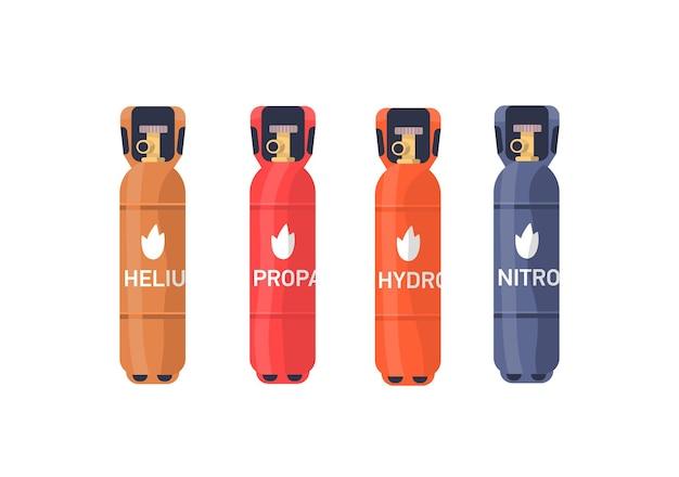 압축 가스 저장 평면 벡터 일러스트 세트입니다. 헬륨, 프로판, 수소 산업용 실린더 다채로운 컬렉션. 가연성 가스 탱크, 흰색 배경에 밸브가 분리된 풍선.