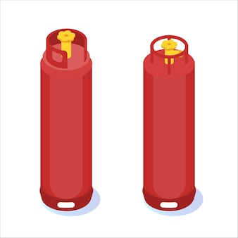 Compressed gas, tank balloon storages isometric icon.