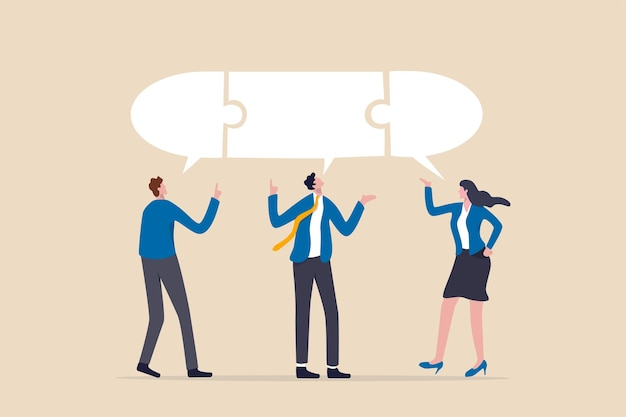 Компромисс для получения решения на деловой встрече, лидерство для общения и объединения идей в концепции сеанса мозгового штурма, команда умных деловых людей с подключенным речевым пузырем-головоломкой.