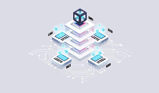 Computation of big data center isometric technology
