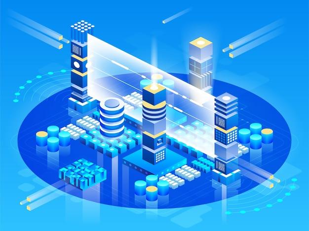 Вычисление большого дата-центра, обработка информации, база данных. маршрутизация интернет-трафика, серверная стойка изометрическая технология