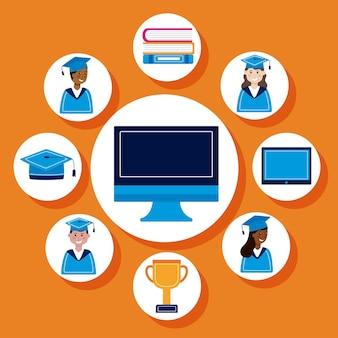 コンピューターと卒業アイコン