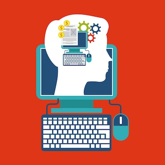 Computer and head design. Blog concept. Vector graphic
