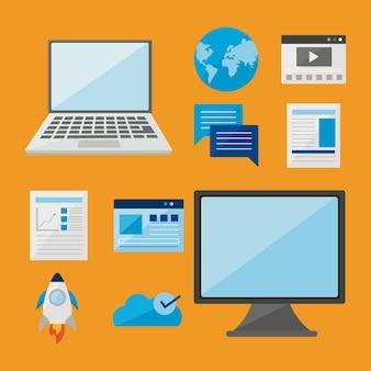 オレンジ色の背景に設定されたデジタルアイコンとコンピューターとラップトップ