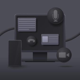 어둠 속에서 3d 스타일의 컴퓨터와 스마트 폰.