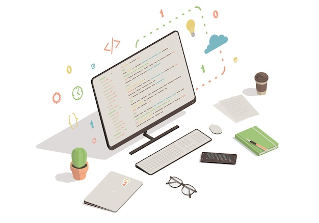 Компьютер и смартфон с иллюстрацией программного кода