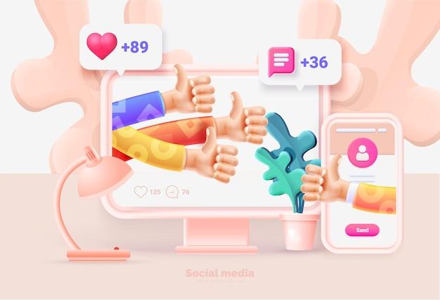 소셜 미디어 사용자 인터페이스가 있는 컴퓨터 및 스마트폰 컴퓨터 및 스마트폰용 템플릿 소셜 네트워크 사용자 인터페이스와 새로운 좋아하는 댓글 추종자 벡터 일러스트 3d 스타일