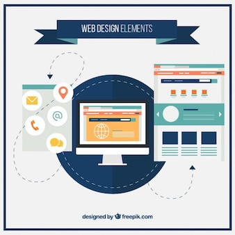 Компьютер и веб-элементов в плоском стиле