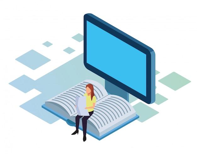 コンピューター、および白い背景に、カラフルな等尺性の本の上に座って新聞を読む女性