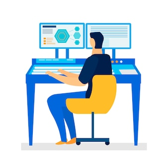 Computer assisted design flat vector illustration