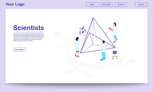 Computer assisted science isometric webpage template. scientists with ai assistant. geometry experts calculating pyramid proportions, doing 3d modeling. hi-tech research center landing page