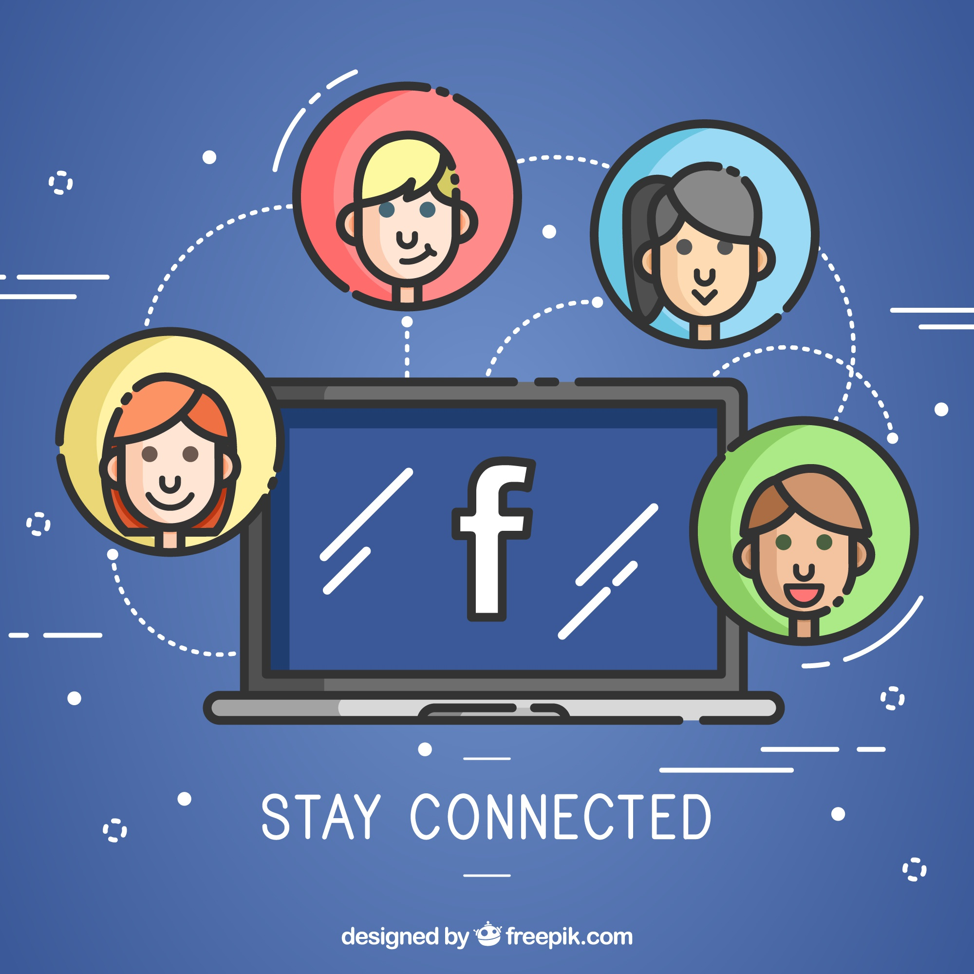 Computer background with facebook and avatars