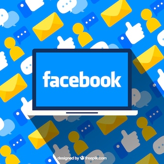 Computer background with facebook in flat design