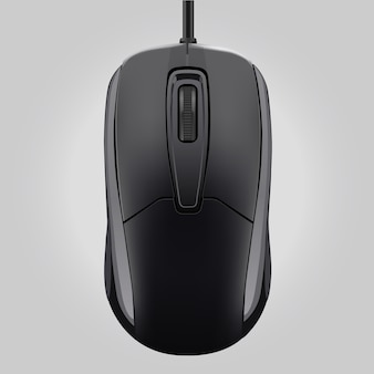 Computer black mouse with wheel isolated on gray background