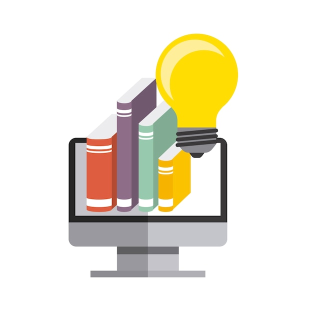 Computer, book and bulb icon. copyright design. vector graphic