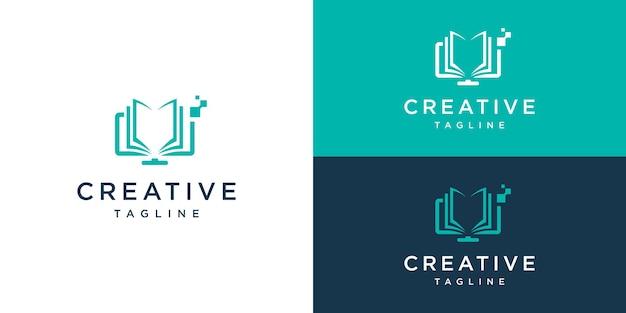 Computer and book logo design combination
