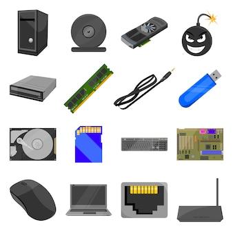 コンピューター漫画のベクトルのアイコンを設定します。パソコンのベクトルイラスト。