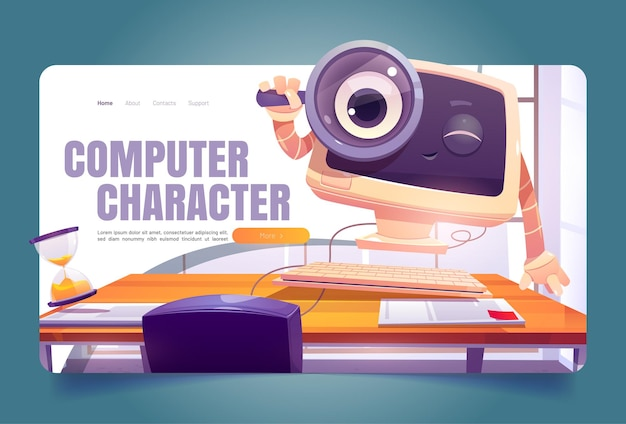 Computer character at office desk cartoon landing page cute pc desktop with smiling face look throug...