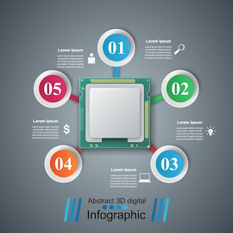Computer chip. business paper infographic vector eps 10