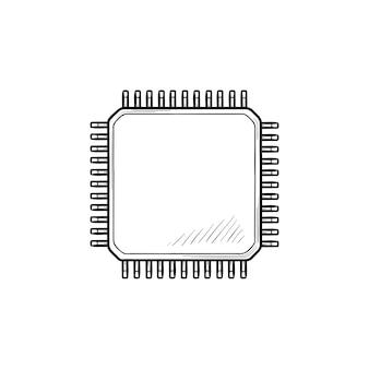 컴퓨터 칩 손으로 그린 개요 낙서 아이콘입니다. 회로 기판 및 cpu, 마이크로칩 기술, 디지털 개념. 인쇄, 웹, 모바일 및 흰색 배경에 인포 그래픽에 대한 벡터 스케치 그림.