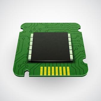 컴퓨터 칩 또는 마이크로 칩. 양식에 일치시키는 아이콘. cpu