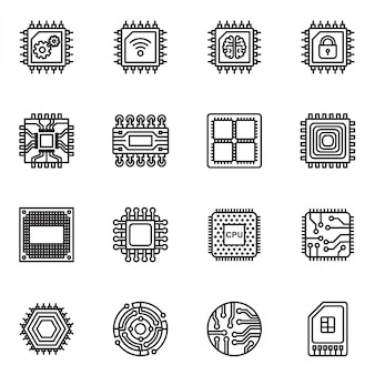 Computer chips and electronic circuit icons set