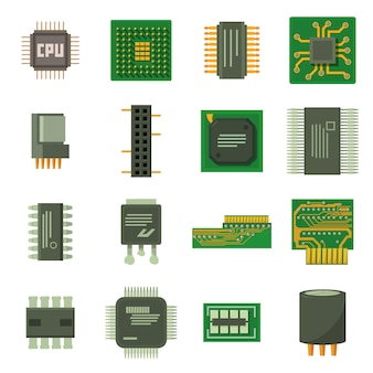 Computer chips icons set