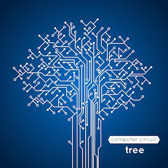 Computer circuit board tree creative electronics concept poster vector illustration