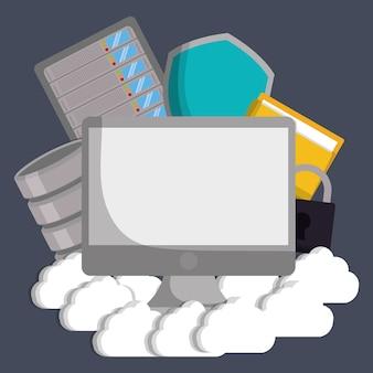 Computer cloud file padlock and shield icon