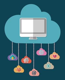 Компьютер облако дом сердце электронная почта социальная сеть