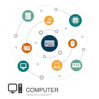 シンプルなアイコンとコンピューターの色の円の概念。 cpu、ラップトップ、キーボード、ハードドライブなどの要素が含まれています