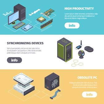 Computer components and gadgets isometric horizontal banner.