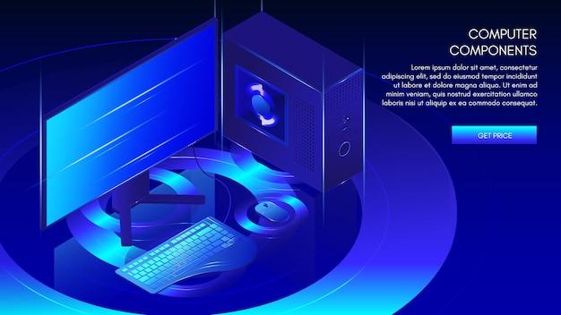 컴퓨터 구성 요소 웹 배너 템플릿, 벡터 아이소메트릭 그림입니다. 게임, 워크스테이션, 마이닝 데스크탑 pc.
