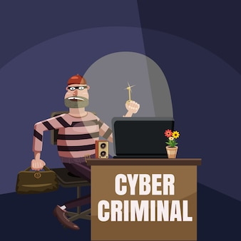 Computer criminal spy concept, cartoon style